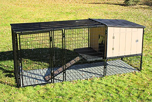 4' X 4' K9 Kennel Castle House with 4' X 8' Run with Metal Cover-Complete