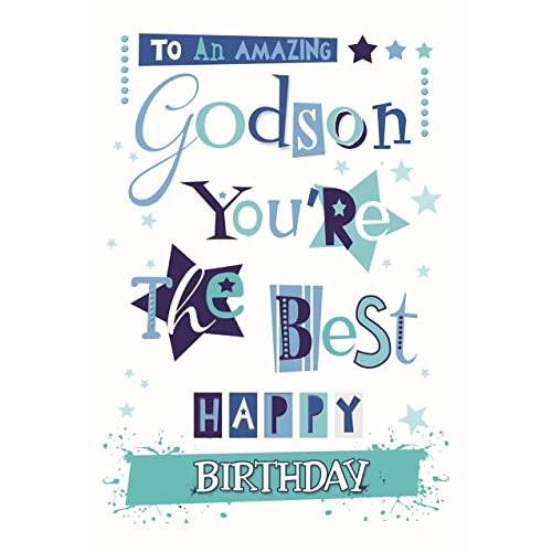 BRILLIANT COLOURFUL GLITTER COATED TO AN AMAZING GODSON BIRTHDAY GREETING CARD