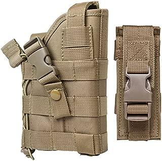 M1SURPLUS Tactical Desert Tan Color MOLLE Holster w/Detachable Magazine Pouch FIts Glock 17 20 21 22 37 31 SIG P229 P226 SP2022 Hk H&k USP P2000 S&W M& Colt 45 Ruger P345 SR9 SR40 Full Size Pistols