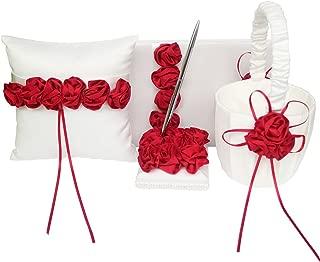 ARKSU 4pcs Wedding Sets Flower Girl Basket + Ring Bearer Pillow + Guest Book Pen + Pen Set Holder Decorated Satin Rose Rustic Bridal Wedding Shower Ceremony Anniversary-Red