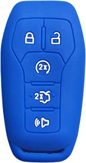 Coolbestda Silicone Key Fob Remote Skin Cover Case Holder Bag for Ford F-150 Lincoln Fusion MKZ Mustang MKC 5 Buttons Smart Key Blue