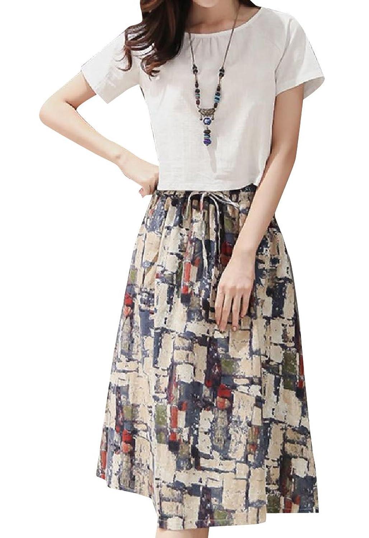 VITryst 女性のカジュアルなゆるい麻のブレンドretrolラインスカートの衣装