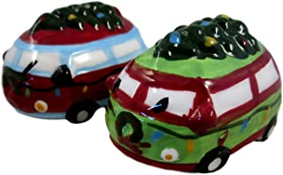 Winter Holiday Ceramic Salt and Pepper Shakers (Bug Van with Christmas Tree on Top)