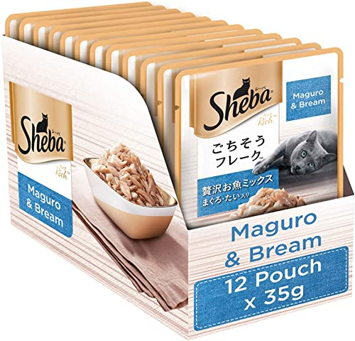 Sheba Rich Premium Wet Cat Food, Fish Mix (Maguro & Bream), 12 Pouches (12 x 35g)