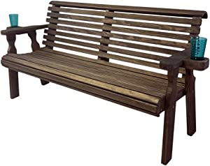 CAF Amish Heavy Duty 800 Lb Roll Back Pressure Treated Garden Bench with Cupholders (4 Foot, Dark Walnut Stain)