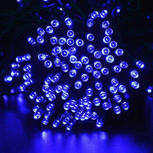 lederTEK Solar String Lights 72ft 22m 200 LED 8 Modes Waterproof Christmas Decorative Lamp for Outdoor, Garden, Home, Wedding, Xmas Tree New Year Party (200 LED Blue)