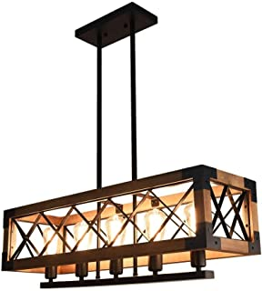 OYI 1 Farmhouse Hanging Fixture Retro Ceiling Light, Brown