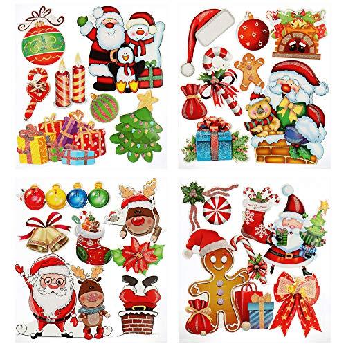 com-four® 28x Autocollants de Noël - Autocollants en Papier 3D - Autocollants pour la décoration de l'appartement [la sélection varie] (28 pièces - Petits Autocollants)