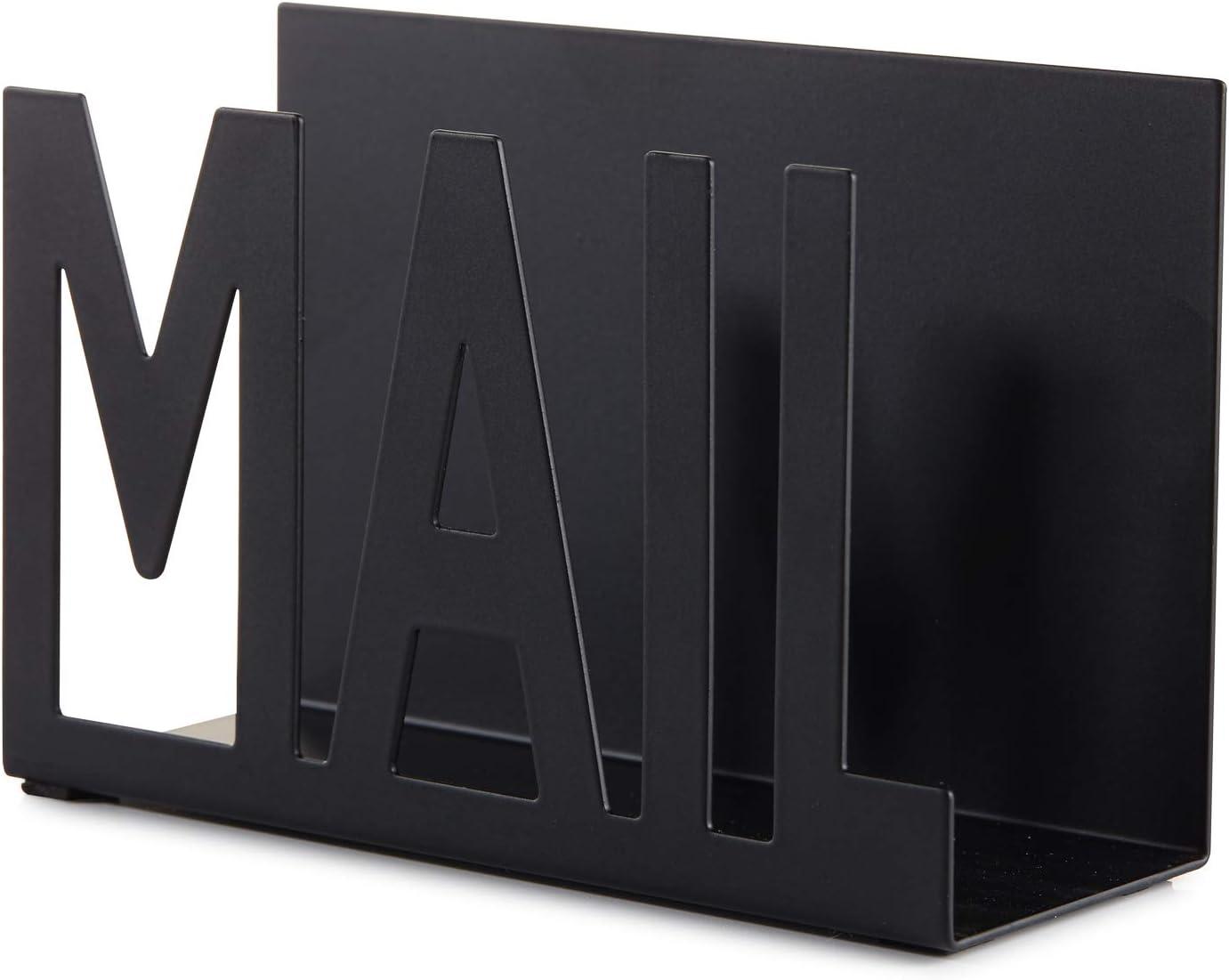 Interoceanic 2pcs Mail Sorter Organizer Desktop Metal Letter Holder Bill Filing Paper Document Keep Neat for Farmhouse Rustic Home School Black