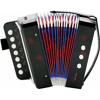 Accordéons à Touches boutons, Accordéon Pour Enfants, les Matériaux sont sans Danger pour les Enfants et plus Résistants à la Déchirure, un Rangement Facile Solo et Ensemble Instrument 7-Key 2 black