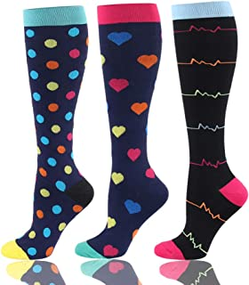 HLTPRO Compression Socks for Men & Women 20-25 mmHg - 3 to 6 Pairs Graduated Compression Stockings Best for Running, Nurses, Shin Splints, Flight Travel & Maternity Pregnancy