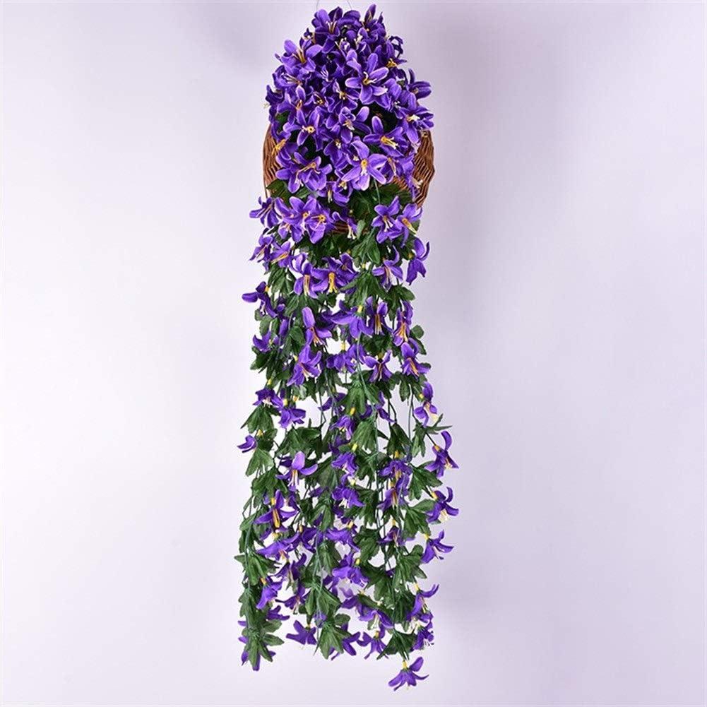 Jun7L Lily Artificial Flores Falsas Ivy Vine Colgante Guirnalda Planta Boda Decoración for el hogar (2 Piezas) (Color : Purple B)
