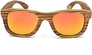 Retro Zebra Wood Handcraft Rimmed Sunglasses Colored Lens UV400 Protection for Unisex-Adult Eyeglasses (Color : Orange)