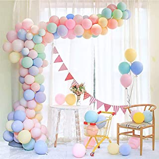 DegGod Party Pastel Balloons 100 Pcs 10 inch Assorted Macaron Candy Colored Latex Balloons for Birthday Wedding Engagement Anniversary Christmas Festival Picnic or Any Party Decorations (Round)
