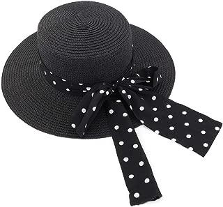 Black White Wave Point Bow Decoration Sun Hat Sunshade Straw Beach Sun Hat Women Outdoor Beach Travel Sun Hat (Color : Black, Size : 56-58CM)