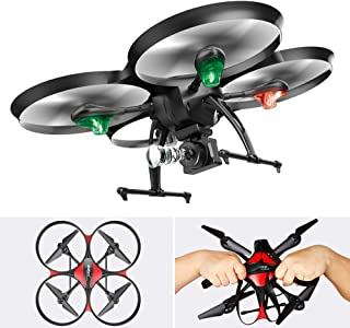 DROCON Transformable Cool Big Size Drone for Beginners with 720P 120°FOV Camera,15 Min Flight Time,4GB TF Card Included, Altitude Hold, Great Gift for Fathers, Husbands or Boys