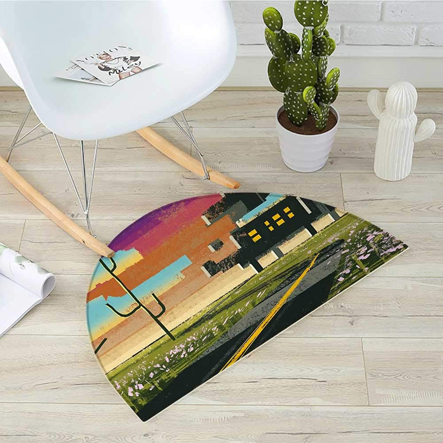 Fantasy Semicircle Doormat Trippy Futuristic Landscape Collage in Paint Effect Apartment in Clouds Design Halfmoon doormats H 39.3  xD 59  Multicolor