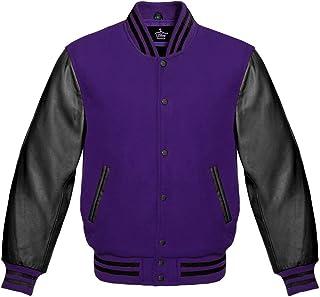 Varsity Jacket for Baseball Letterman of Purple Wool and Genuine Black Leather Sleeves