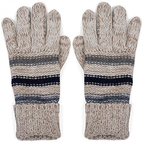 styleBREAKER warme Handschuhe mit Streifen, meliert mit doppeltem Bund, Strickhandschuhe, Fingerhandschuhe, Unisex 09010007, Farbe:Elfenbein-Beige
