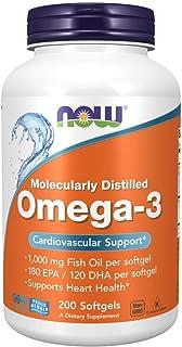 Now Foods Omega-3 1000mg, Molecularly Distilled 200 Softgels