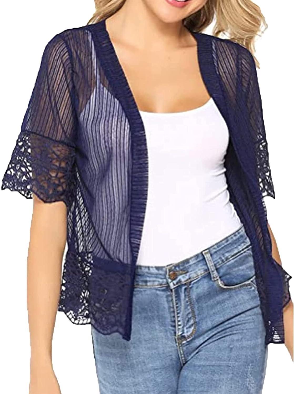 Women Lace Cardigan Shrug Half Sleeve Patchwork Sheer Bolero Open Front Crochet Cover Up Top