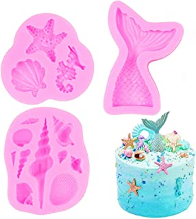 SAKOLLA Mermaid Theme Silicone Fondant Mold - Mermaid Tail Seashell Starfish Hippocampus Conch Silicone Mold for Under The Sea Cake Decoration, Gum Paste, Polymer Clay, Cupcake Decor, Sugar Craft