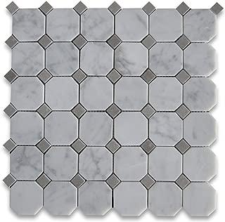 Carrara White Italian Carrera Marble Octagon Mosaic Tile Gray Dots 2 inch Polished
