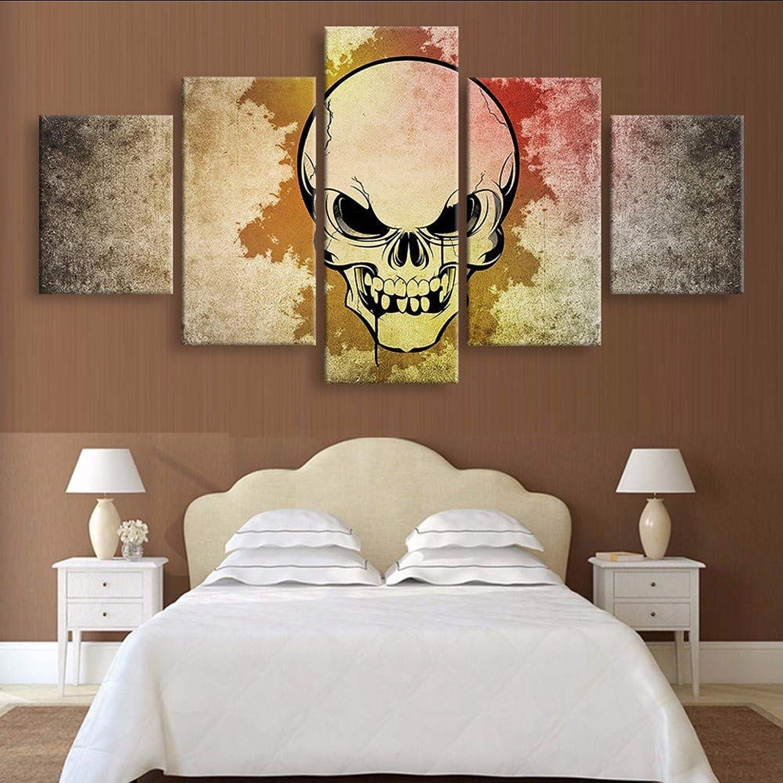 Wsxxnhh Resumen Modular Lienzo Fotos 5 Piezas Cráneo Pinturas Marco HD Cartel Impreso Arte De La Parojo Decoración para Sala De Estar Hogar Moderno-30X40Cmx260Cmx2 80Cmx1