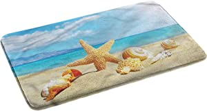 "Ahuimin Seashells Bathroom Rug Non Slip Bath Mat Beach Sand with Starfish 24"" x 35"""