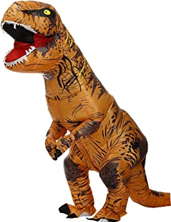 Zi Xi & Zi Qi T-Rex Inflatable Dinosaur Mascot Party Costume Fancy Dress Cosplay Outfit Adult (Classic Brown)