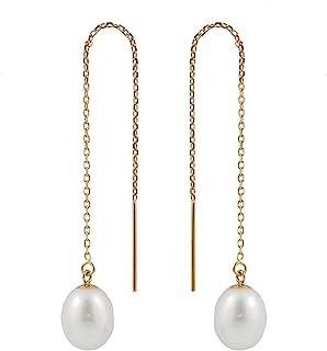 Splendid Pearls 14K Yellow Gold Threader Drop Pearl Earrings 7.5-8mm AA Quality Genuine Freshwater Cultured