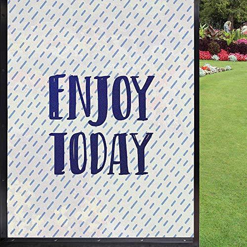 Enjoy Today - Película de vidrio para puerta de ventana, para baño, oficina, sala de estar, color azul