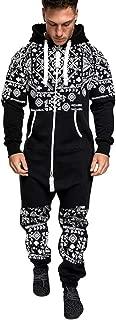 Mens Tracksuit 2PC Set Patchwork Sweatshirt Jogger Sweatpants Solid Hooded Sports Suit