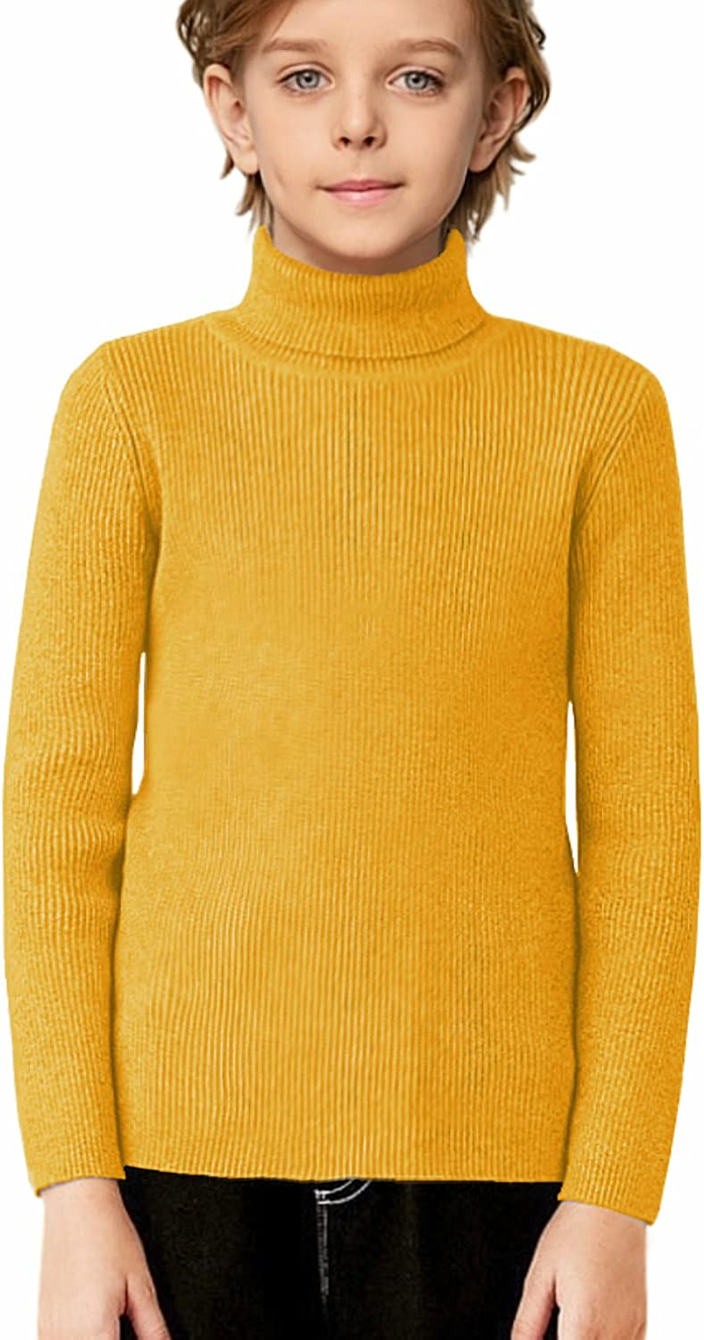 Boyoo Boy's Slim Fit Knitted Turtleneck Sweater Ribbed Solid Winter Pullover for 4-13 Years