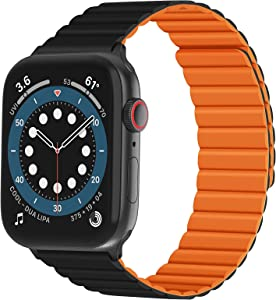 NewWays Silicone Band with Magnetic Closure Compatible with Apple Watch Band 42mm 44mm Series 3 4 5 6 with for Men Women, Black/Orange