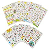 yueton 12 Sheet Cute Cartoon Transparent Calendar Diary Book Sticker Scrapbook Planner Decoration (Pig&Cat)
