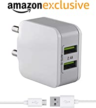 Fast Charger for Alcatel U5 HD Charger Adapter Wall Charger   Mobile Chargers   Fast Charger   USB Charger with 1 Meter Micro USB Charging Data Cable (2.4 Amp, White)