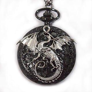 Dragon Pocket Watch Retro Black Pocket Watch with Necklace Chain - Steampunk Black Dragon Pokcet Watch