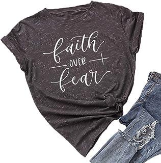 JTJFIT Faith Over Fear T-Shirt Women Cute Shirt Funny Tee Casual Short-Sleeve Girl T-Shirts Top