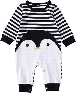 ggudd Niña Bebé Trajes Manga Larga Pingüino Impreso A Rayas Mono por 0-24 Meses