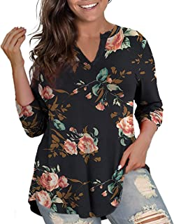 Womens Floral Printed Tunic Tops 3/4 Roll Sleeve V Neck...