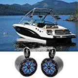 Pair KICKER 45KM84L 8' 600 Watt Marine Boat Wakeboard Tower Speakers w/LED's KM8