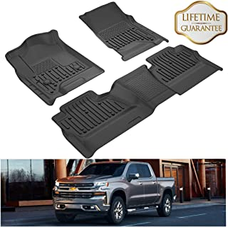 KIWI MASTER Floor Mats Liners Compatible for 2014-2018 Chevrolet Silverado/GMC Sierra 1500 Crew Cab, 2015-2019 Silverado/Sierra 2500/3500 HD Crew Cab Front & 2nd Seat All Weather Protector Mat Black