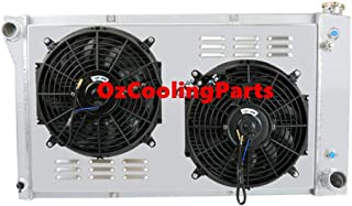 OzCoolingParts Chevy GMC C/K/S/T/G Series Radiator Fan Shroud Kit, 2 Row Core Full Aluminum Radiator + 2 x 12