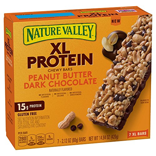 Nature Valley Peanut Butter Dark Chocolate XL Protein Chewy Bars 14.84oz , one box