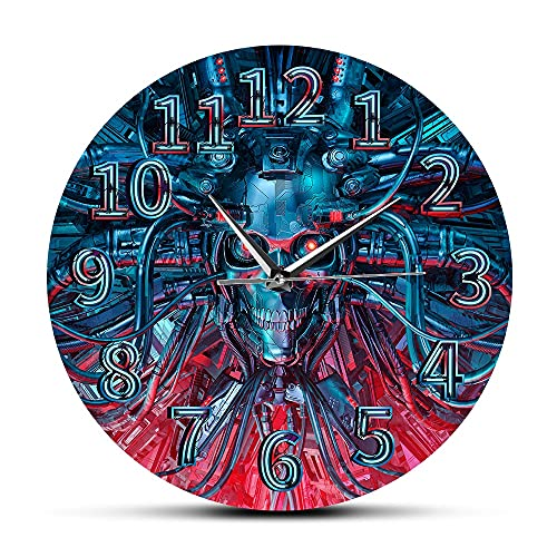 Usmnxo Robot Reloj de Pared Heavy Metal Steampunk Esqueleto de Halloween Decoración del hogar Reloj de Pared 12 Pulgadas Sin Marco