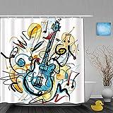 QINCO Duschvorhang,Gitarren Solo,personalisierte Deko Badezimmer Vorhang,mit Haken,180 * 210
