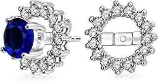 Cubic Zirconia CZ Round Pave Halo Earrings Jackets For Studs Jacket Only For Women 925 Sterling Silver More Colors