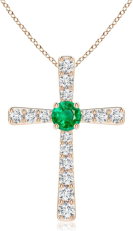Emerald and Ranking TOP3 Diamond Pendant Japan Maker New Cross 3mm