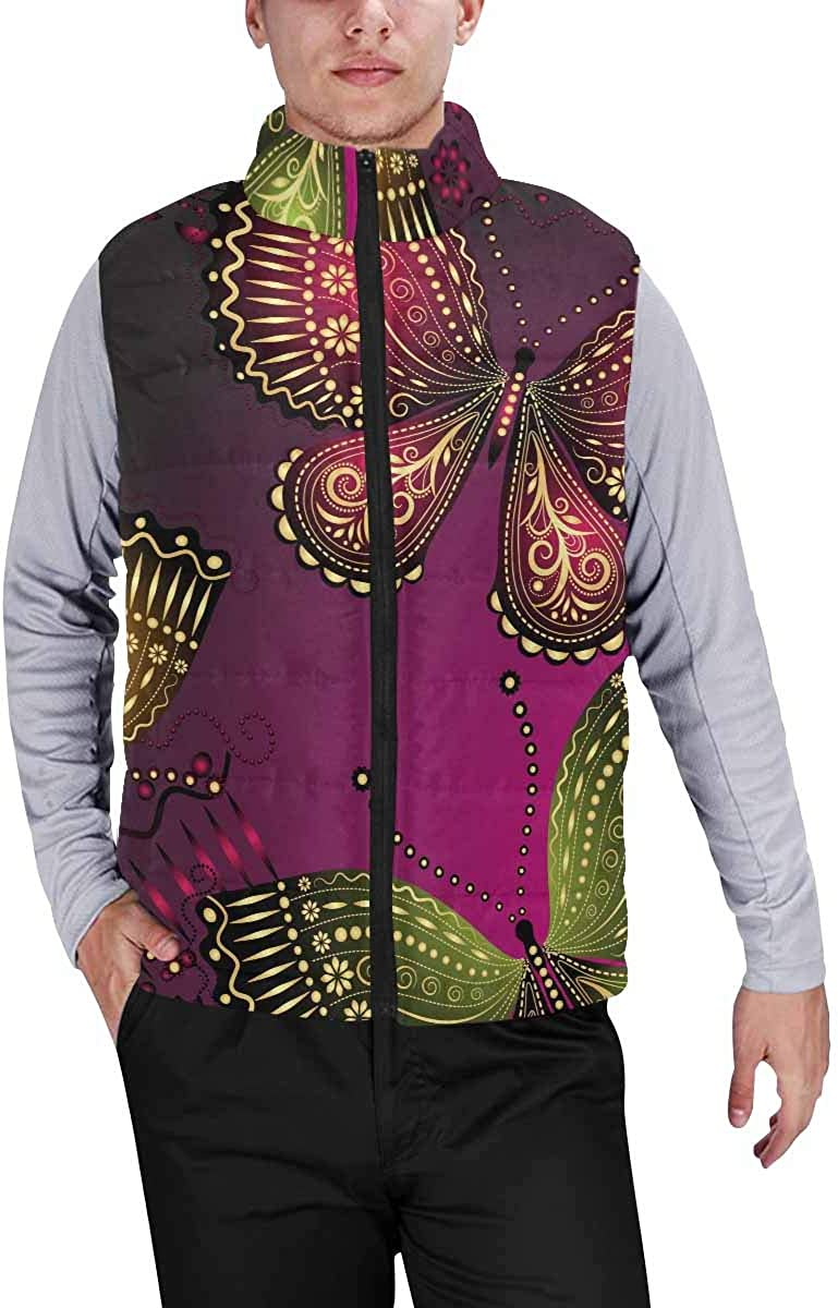 InterestPrint Men's Lightweight Keep Warm Puffer Vest for Outdoor Colorful Blots on the White